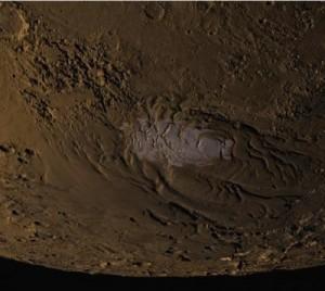 De sydlige højlande på Mars. Foto: NASA/MOLA Science Team