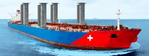 Fremtidens skibe kommer måske til at sejle med roterende søjler. Grafik: THiiiNK.