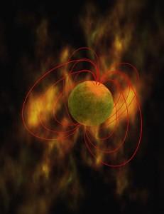 Universtes voldsommeste supernovaer eksplosionen fra en stjerne, der kollapser til en magnetar. Grafik: NASA.