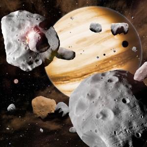 Planeterne har vandret igennem solsystemet, og hver gang de er kommet i nærheden af småplaneter og asteroider, har de slynget dem ud i alle retninger. Grafik: David A. Aguilar.