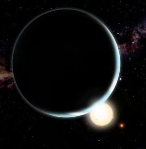 Planeter kan ikke dannes tæt på to sole, der roterer omkring hinanden. mEN DE KAN GODT SNIGEN SIG HEN TIL DEM EFTER DER ER DANNET. gRAFIK: David A. Aguilar (CfA)