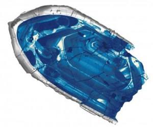 Jordens ældste sten er denne mikroskopiske krystal af zirkon. Den er 4,4 milliarder år gammel. Foto: John Valley.