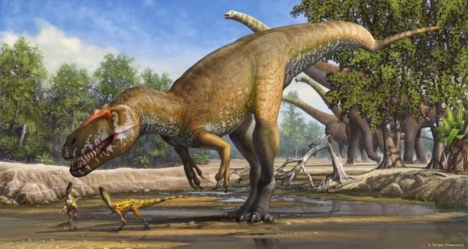 Selv om Torvosaurus gurneyi var et enormt uhyre for sine omgivelser, kan den godt have bekymret sig om sit eget afkom. Grafik: Sergey Krasovskiy