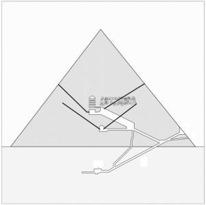 En blanding af fysiske målinger på Cheop Pyramiden og tekststudier viser, at farao måske sidder på en jerntrone af meteoritjern inde i et ukendt kammer øverst i pyramiden. Det nyfundne kammer er markeret med ulden grå. Foto: Giulio Magli.