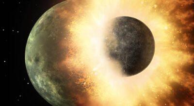 Jorden og planet støder sammen og danner Månen